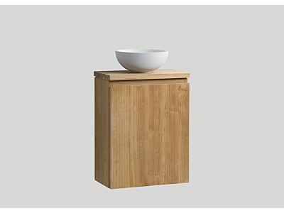 Djati teak toiletmeubel Bali rechts met teak top - 40 cm