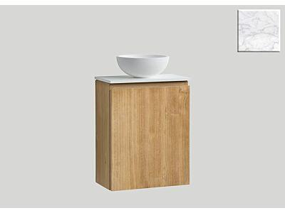 Djati teak toiletmeubel Bali rechts met solid surface top mat marmer - 40 cm