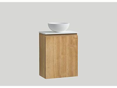 Djati teak toiletmeubel Bali rechts met solid surface top mat wit - 40 cm
