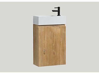 Djati teak toiletmeubel Bali rechts met solid surface toiletfontein mat wit (1 kr.gt) - 40 cm
