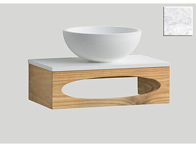 Djati teak toiletmeubel Gili met solid surface top mat marmer - 40 cm
