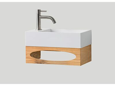 Djati teak toiletmeubel Gili met polystone toiletfontein links glans wit (0 kr.gt) - 40 cm
