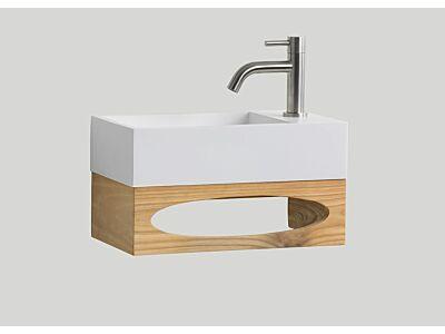Djati teak toiletmeubel Gili met solid surface toiletfontein mat wit (0 kr.gt) - 40 cm
