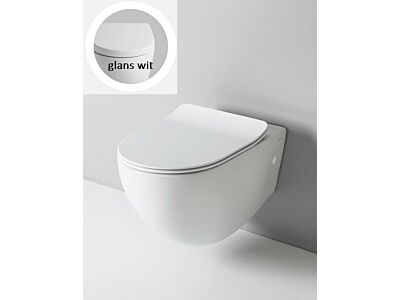 Artceram rimless toilet met soft-close zitting - glans wit