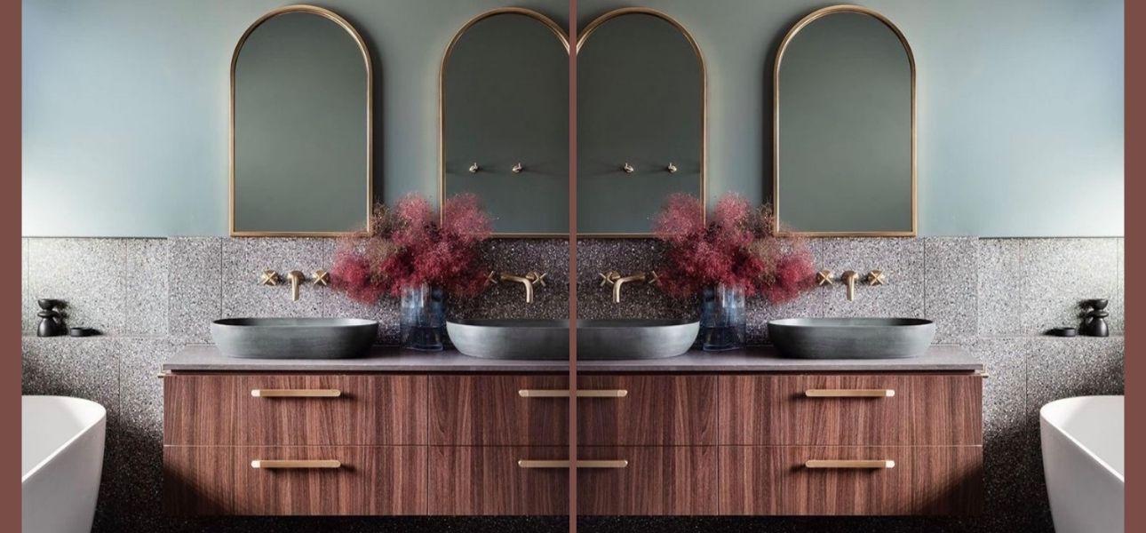 Een vintage badkamer? Retro badkamermeubels, gouden kranen en grafische tegels zijn hip!